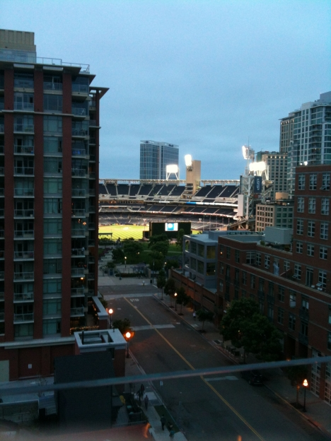 Petco Park and the East Village in San Diego.