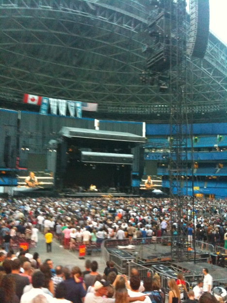Bruce Springsteen performing at the Rogers Centre in Toronto.